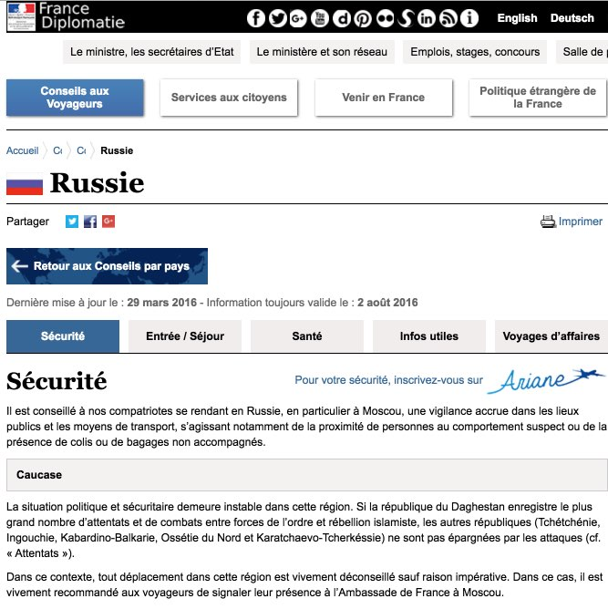 Russie - Securite - France-Diplomatie - Ministere des Affaires etrangeres et du Developpement international