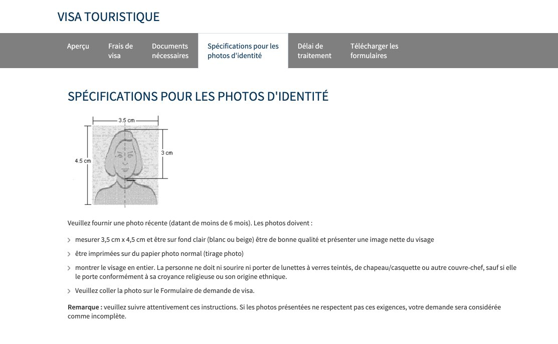 Specifications pour les photos identite visa russe - Informations sur les visas pour la Russie en France